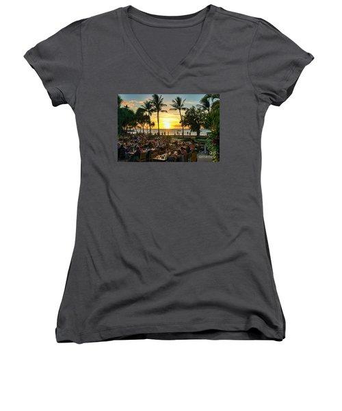 Sunset At Old Lahaina Luau #1 Women's V-Neck T-Shirt