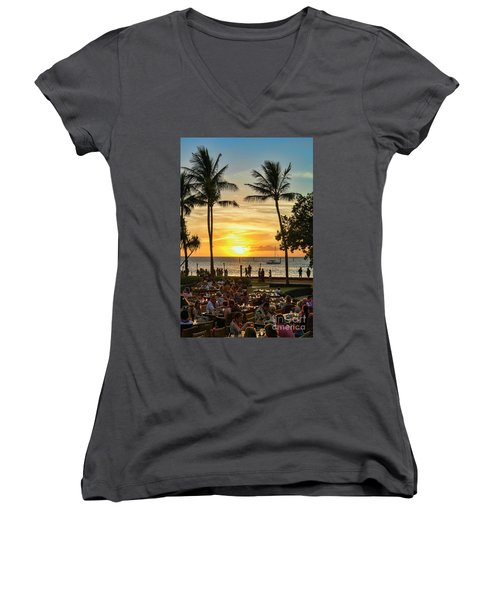 Sunset At Old Lahina Luau #2 Women's V-Neck T-Shirt