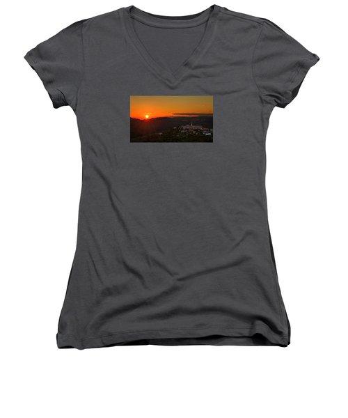 Sunset At Padna Women's V-Neck T-Shirt (Junior Cut) by Robert Krajnc