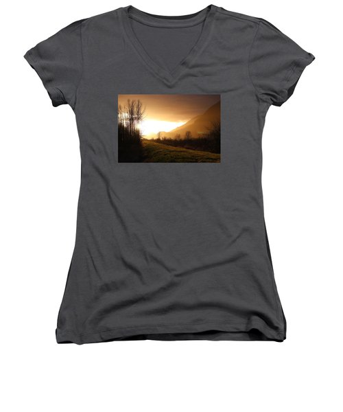 Sunset At Pitt Lake Dyke Women's V-Neck