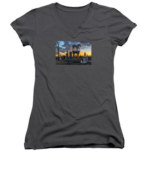 Sunset At Riverside Cemetery Women's V-Neck T-Shirt (Junior Cut) by Stephen  Johnson
