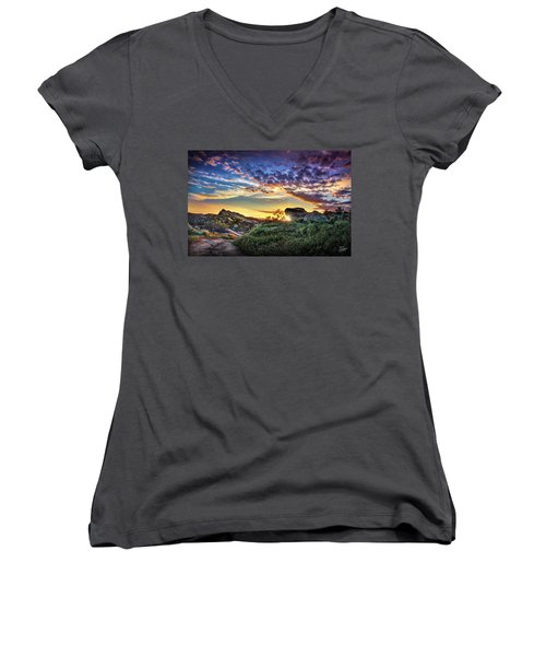 Sunset At Sage Ranch Women's V-Neck