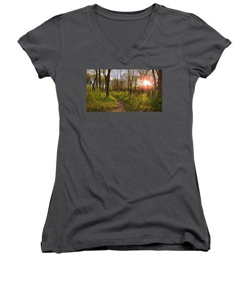 Sunset At Scuppernong Women's V-Neck T-Shirt (Junior Cut) by Kimberly Mackowski
