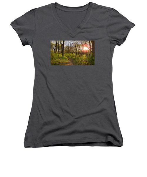 Sunset At Scuppernong Women's V-Neck (Athletic Fit)