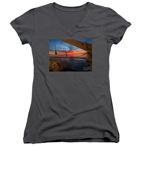 Women's V-Neck T-Shirt (Junior Cut) featuring the photograph Sunset At Sea by Trena Mara