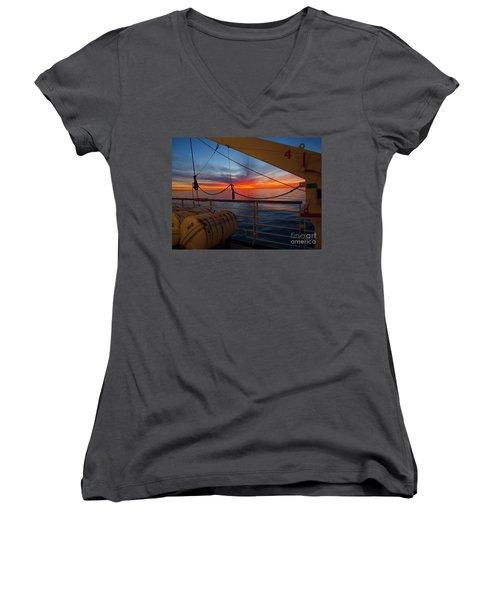 Sunset At Sea Women's V-Neck T-Shirt