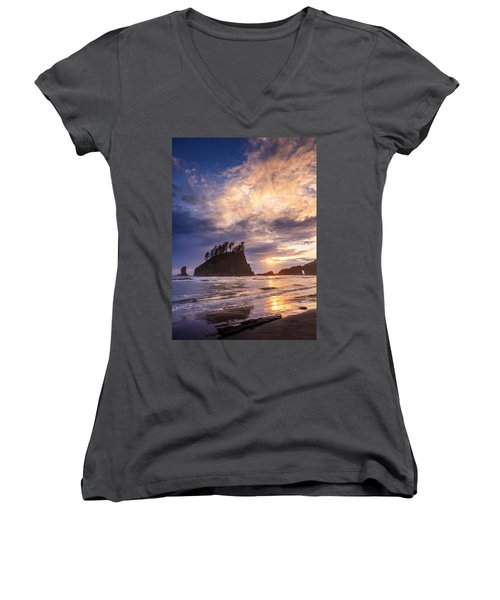 Sunset At Second Beach Women's V-Neck (Athletic Fit)