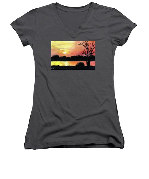 Women's V-Neck T-Shirt featuring the painting Sunset At Shire River In Malawi by Dora Hathazi Mendes
