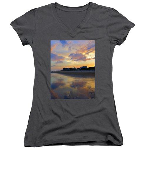 Sunset At The Beach Women's V-Neck T-Shirt (Junior Cut) by Betty Buller Whitehead