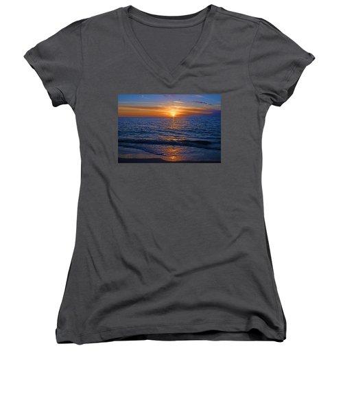 Sunset At The Beach In Naples, Fl Women's V-Neck