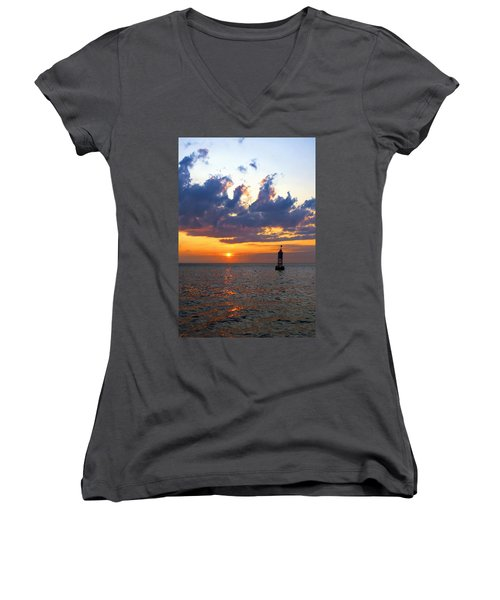 Sunset At The Bell Buoy Women's V-Neck