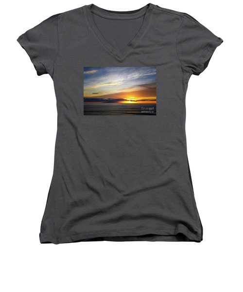 Sunset At The Canary Island La Palma Women's V-Neck (Athletic Fit)