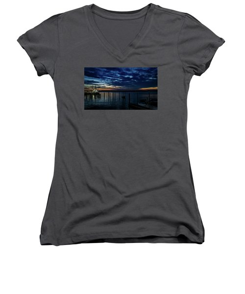 Sunset At The Dock Women's V-Neck (Athletic Fit)