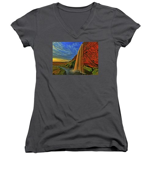 Women's V-Neck T-Shirt (Junior Cut) featuring the photograph Sunset At The Falls by Scott Mahon