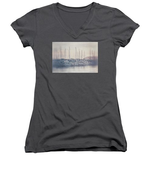 Sunset At The Marina Women's V-Neck T-Shirt