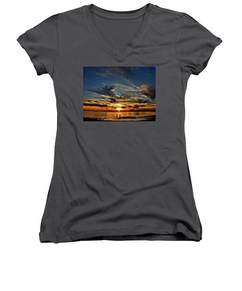 Sunset At The Waters Edge Women's V-Neck