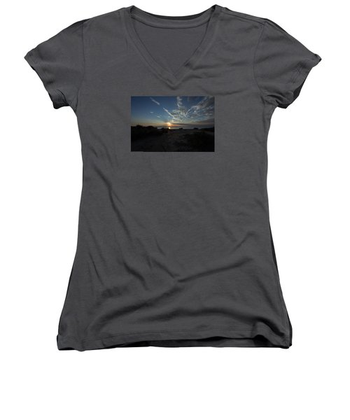 Women's V-Neck T-Shirt (Junior Cut) featuring the photograph Sunset At Torrey Pines by Jeremy McKay