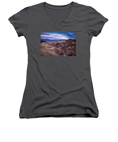 Sunset At Zabriskie Point In Death Valley National Park Women's V-Neck