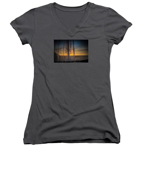 Sunset Behind The Waterfall Women's V-Neck T-Shirt (Junior Cut) by Chris McKenna