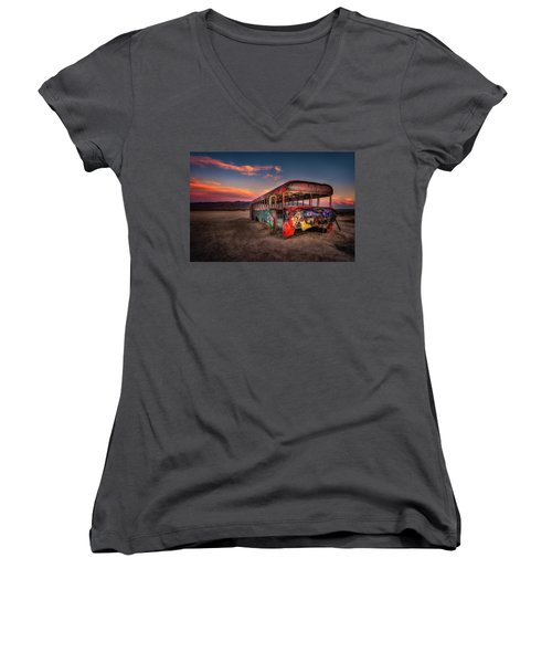 Sunset Bus Tour Women's V-Neck