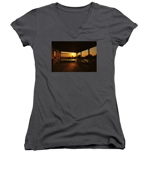 Women's V-Neck featuring the photograph Sunset By The Beach by Angel Cher