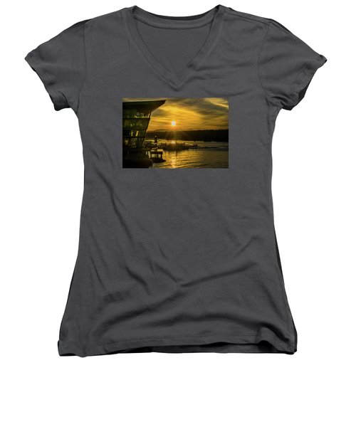 Sunset By The Convention Centre Women's V-Neck T-Shirt