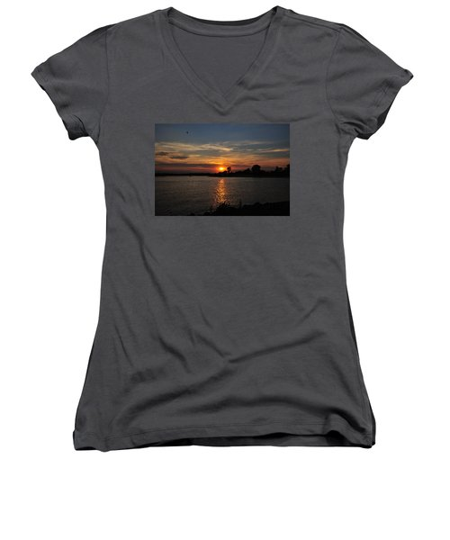 Women's V-Neck featuring the photograph Sunset By The Inlet by Angel Cher
