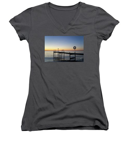 Women's V-Neck T-Shirt (Junior Cut) featuring the photograph Sunset By The Old Bath Pier by Kennerth and Birgitta Kullman