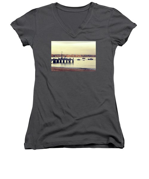 Women's V-Neck T-Shirt (Junior Cut) featuring the photograph Sunset By The Sea by Marion McCristall
