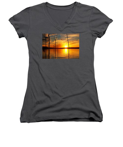 Women's V-Neck featuring the photograph Sunset By The Water by Angel Cher