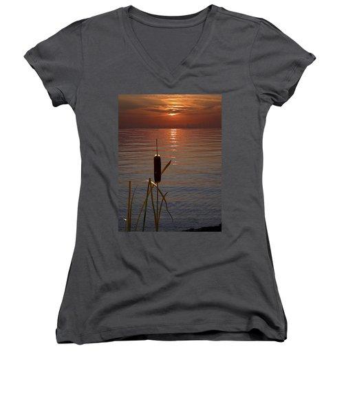 Sunset Cattail Women's V-Neck T-Shirt (Junior Cut) by Judy Johnson