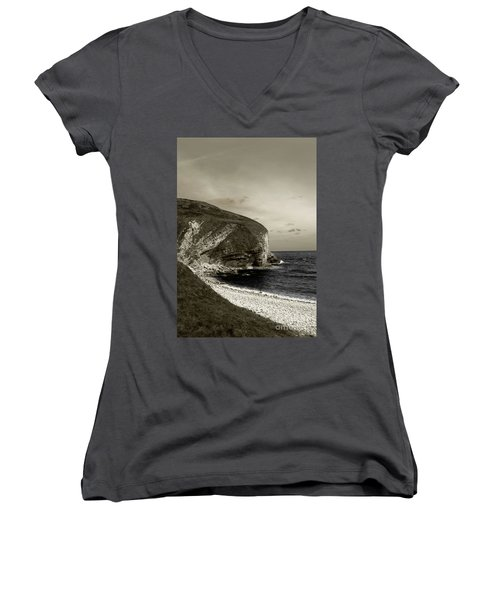 Sunset Cliff Women's V-Neck T-Shirt (Junior Cut) by Sebastian Mathews Szewczyk
