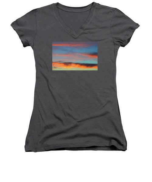 Sunset Clouds In Blue Sky  Women's V-Neck T-Shirt (Junior Cut) by Lyle Crump