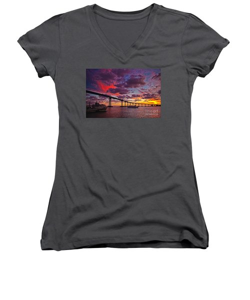 Sunset Crossing At The Coronado Bridge Women's V-Neck