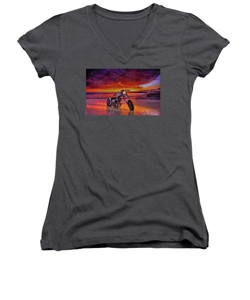 Women's V-Neck T-Shirt (Junior Cut) featuring the photograph sunset Custom Chopper by Louis Ferreira