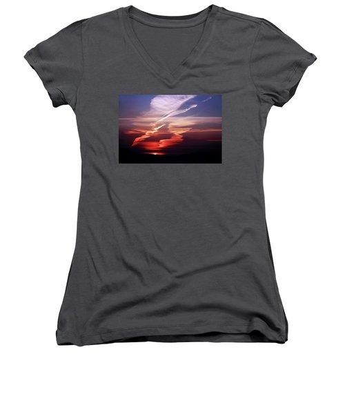 Sunset Dance Women's V-Neck T-Shirt (Junior Cut) by Aidan Moran