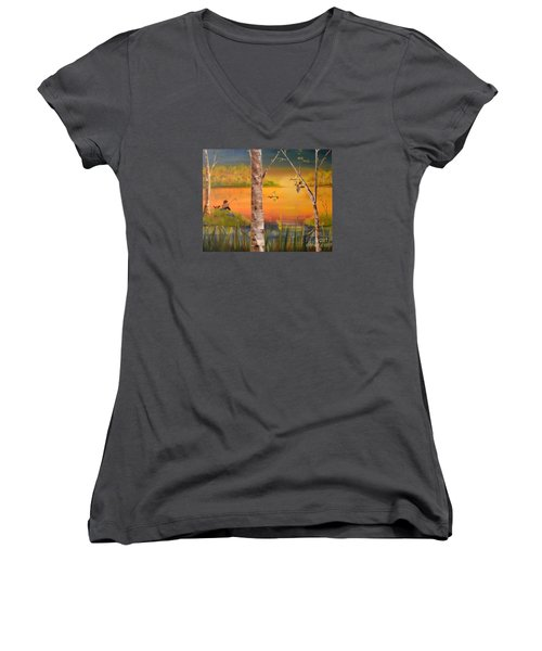 Women's V-Neck T-Shirt (Junior Cut) featuring the painting Sunset Fishing by Denise Tomasura
