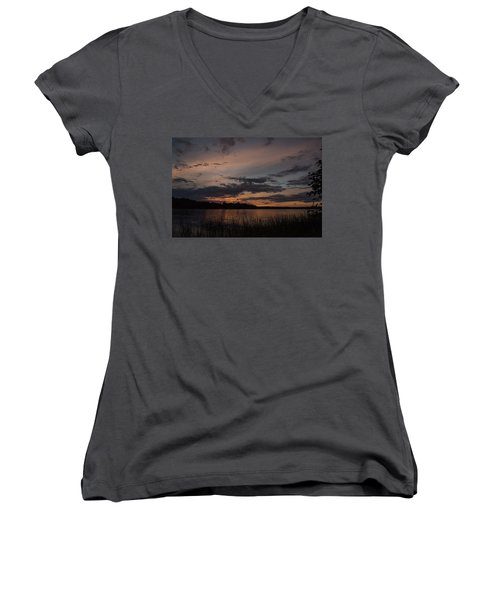 Sunset From Afternoon Beach Women's V-Neck