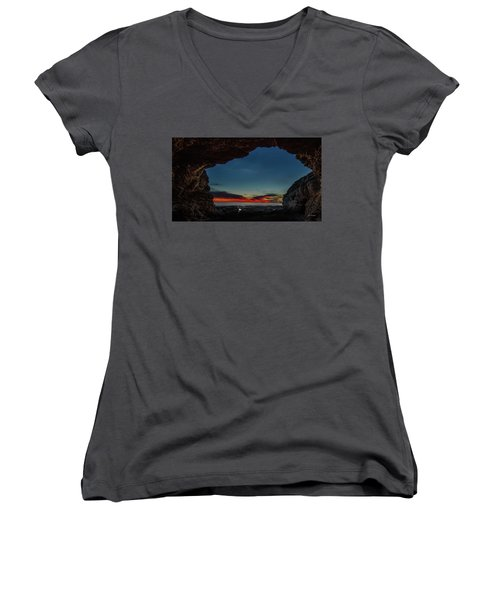 Sunset From Brady's Cave Women's V-Neck (Athletic Fit)