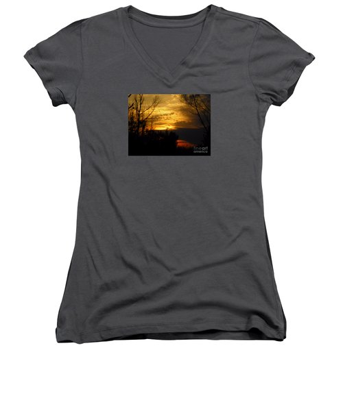 Sunset From Farm Women's V-Neck (Athletic Fit)