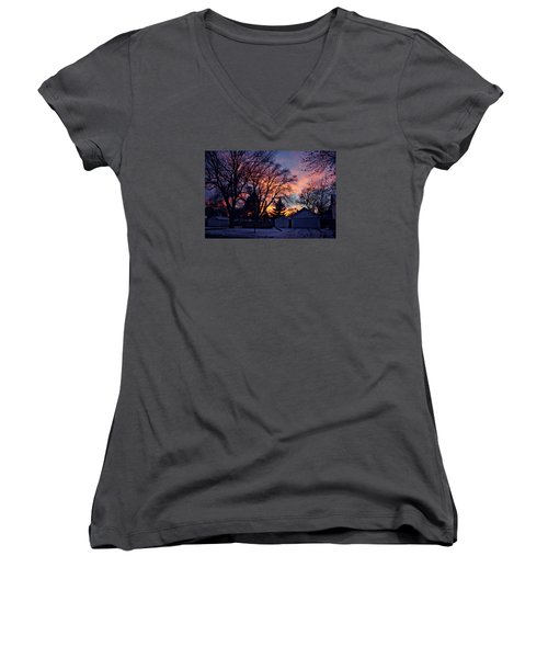 Sunset From My View Women's V-Neck T-Shirt (Junior Cut) by Kathy M Krause