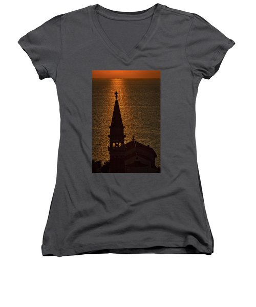 Women's V-Neck T-Shirt featuring the photograph Sunset From The Walls #2 - Piran Slovenia by Stuart Litoff