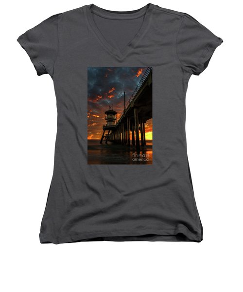 Sunset Huntington Beach Pier Women's V-Neck (Athletic Fit)
