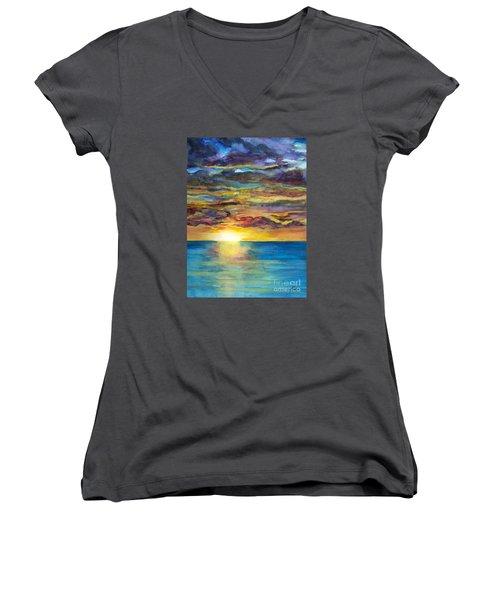 Sunset II Women's V-Neck T-Shirt (Junior Cut) by Suzette Kallen