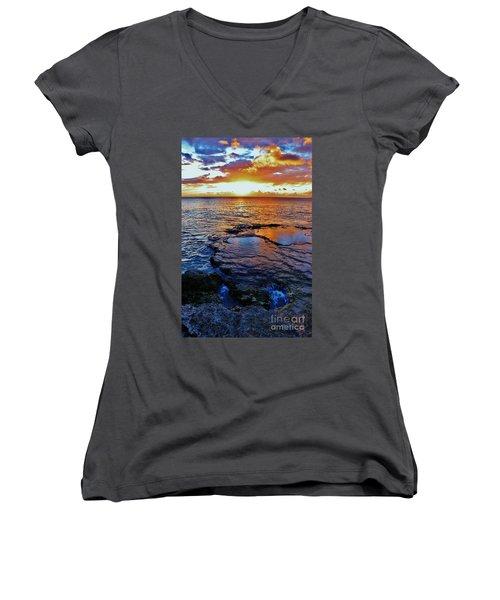 Sunset In A Tide Pool II Women's V-Neck T-Shirt