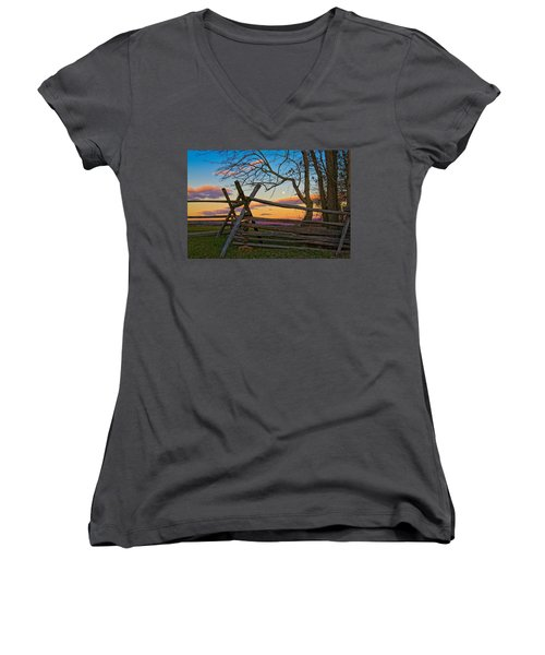 Sunset In Antietam Women's V-Neck (Athletic Fit)