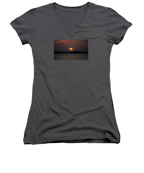Sunset In Biloxi Women's V-Neck T-Shirt (Junior Cut) by Cathy Jourdan