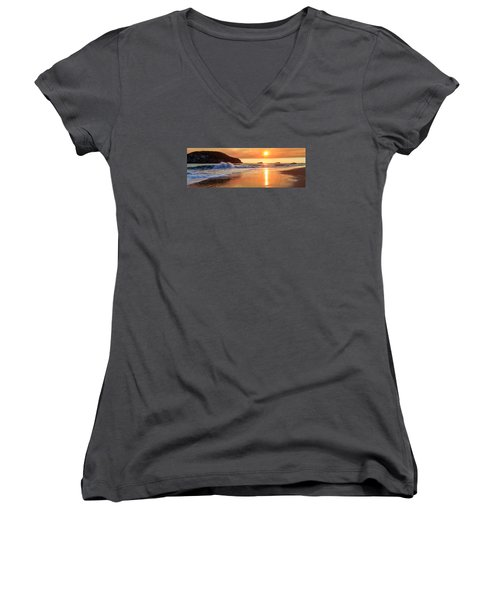 Women's V-Neck T-Shirt featuring the photograph Sunset In Brookings by James Eddy