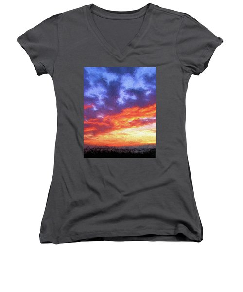 Sunset In Carolina Women's V-Neck (Athletic Fit)