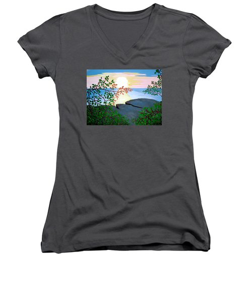 Women's V-Neck T-Shirt (Junior Cut) featuring the painting Sunset In Jamaica by Stephanie Moore